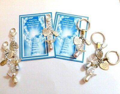Angel Baby in Heaven Above -  Baby Loss Remembrance Gift Keyring or Bag Charm