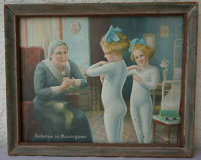 Munsingwear advertising lithograph on canvas,, dated 1914..  signed Myles bottom