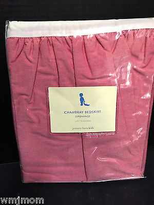 Pottery Barn Kids RED Chambray CribSKIRT Crib Skirt Jolly Santa North Pole NEW