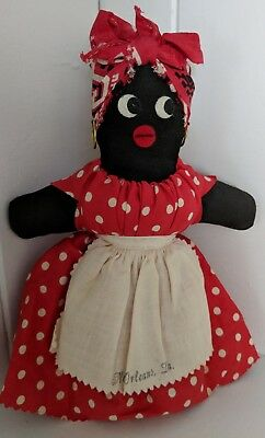 Vintage  Black Americana African Mammy Rag Cloth Doll New Orleans Folk Art 8""