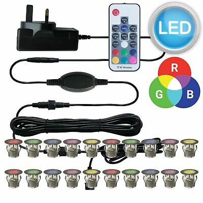 SET OF 20 - 30mm RGB PATIO DECK PLINTH LIGHTS IP67 LED REMOTE COLOUR CHANGING
