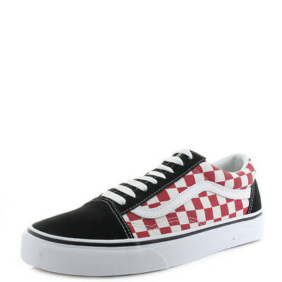 02364b5ff96962 Mens Vans Old Skool Checkerboard Black White Red Classic Skate Trainers Size
