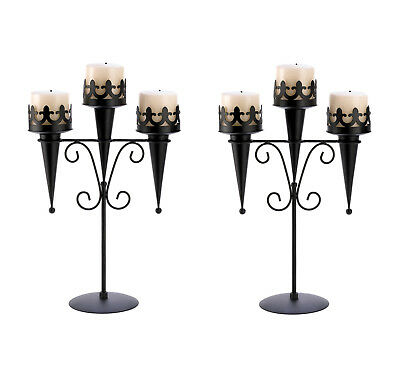 2 CANDLE HOLDERS: Gothic Black Medieval Triple Pillar Candle Stand Set NEW