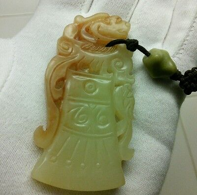 Antique Chinese Hand Carved Jade Shi Lion Foo Dogs Amulet Pendant