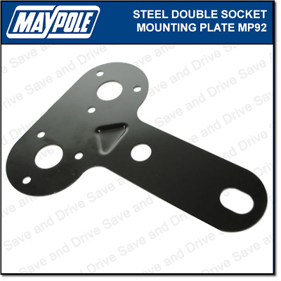 Maypole Double Socket Metal Mounting Plate Towing Trailer Caravan Towbar MP92