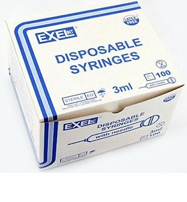 (100) exel luer Lock Syringe 3ml(3cc) 25g x 1 1/2in (1.5in) box of 100