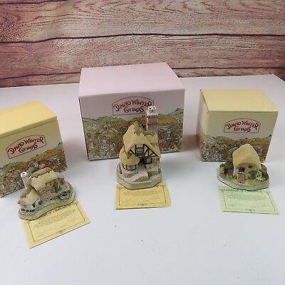 David Winter Cottages Collector's Guild Irish Water Mill Audrey's Tea Lot of 3