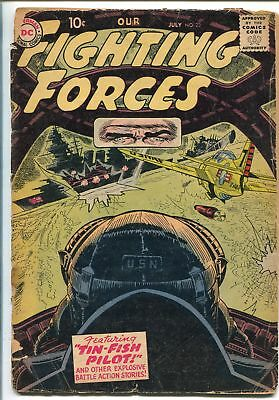 OUR FIGHTING FORCES #23-1957-DC-SILVER AGE-JOE KUBERT-P-51 MUSTANG-fr