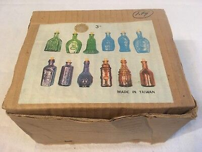 "Vintage Set of 12 Bitters Type Bottles 3"" Made in Taiwan - Item No. 4128M"