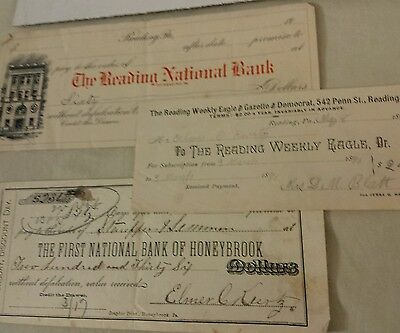 Vintage 1887, 1890 & Early 1900 Receipts 2 Bank & a Newspaper Reading PA