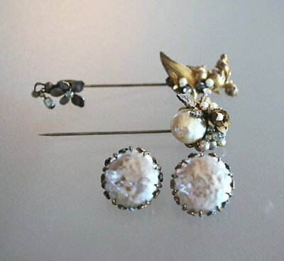Vintage Miriam Haskell Lot Of 3 Pieces Earrings And Two Stick Pins
