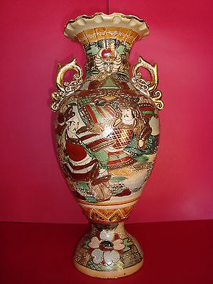 "Meiji - Ca. 1870 Large 18"" (45.7cm) Antique Earthenware JAPANESE Satsuma Vase"