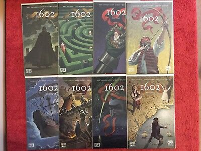 Marvel 1602 1 2 3 4 5 6 7 8 Marvel RUN of 8 Complete 2003 VF+ Gaiman Kubert