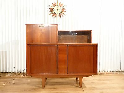 Fabulous mid century teak illuminted drinks cocktail cabinet tambour doors