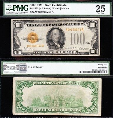 VERY NICE *RARE* Bold Mid-Grade VF 1928 $100 GOLD CERTIFICATE! PMG 25! A00168043