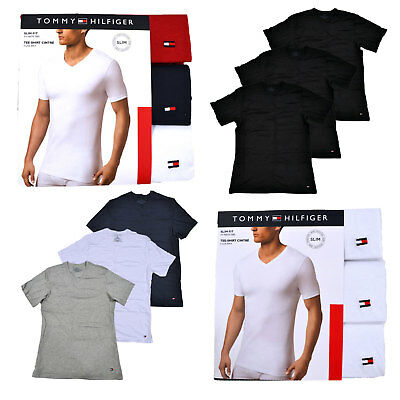 7db3a61b Tommy Hilfiger Undershirts Mens 3 Pack V-neck T-shirt Tops Slim Fit Flag