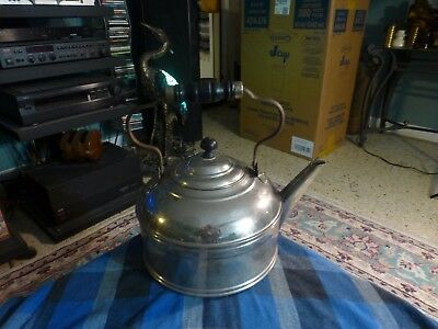 Antique ROME METAL WARE KETTLE W/ Wood Handle Farm Primitive Rare VG !