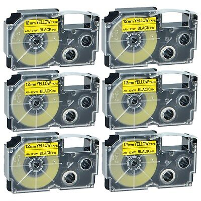 """6PK XR-12YW Black on Yellow Label Tape for Casio KL-60 100 7000 8200 8800 1/2"""""""