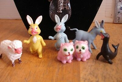 Lot of 7 Vintage Plastic Rubber Farm Animal Easter Bunny Cat Sheep Donkey Toy