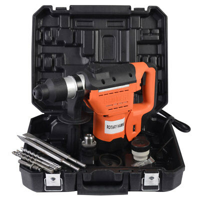 """1100W 1-1/2"""" SDS Plus Electric Rotary Hammer Drill Corded Variable Speed Bit Set"""