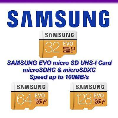 SAMSUNG EVO 32GB 64 GB 128 GB micro SD SDHC SDXC Class 10 Memory Card TF Adapter