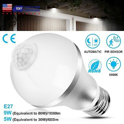 Indoor Outdoor Motion Sensor Light Bulb Activated Led Dusk To Dawn 9w 5w