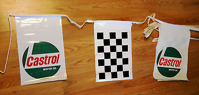 Vintage Castrol Motor Oil Auto Racing Checkered Flag Rope Banner Advertising Nos