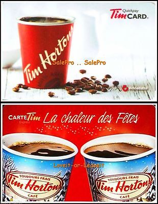 2x TIM HORTON 2014 2015 HEAT OF THE COFFEE & HOLIDAYS COLLECTIBLE GIFT CARD LOT