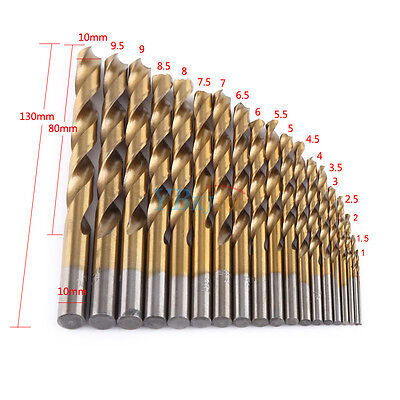 19pc HSS Metric Drill Bit Set Titanium Coated Twist Drills Metal Wood 1-10mm zg