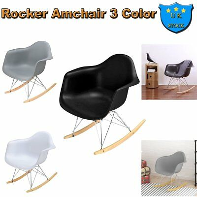 Lounge Rocking Chair Retro Rocker Armchair + Seat Chrome Metal Leg Living  Rooms