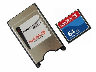 SanDisk 64MB Compact Flash+PCMCIA Adapter =64MB ATA Flash Disk For CNC Panasonic