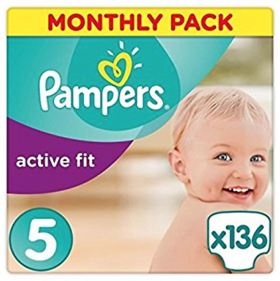 Pampers Active Fit Nappies Monthly Saving Pack Baby Dry Size 5, 136 nappies