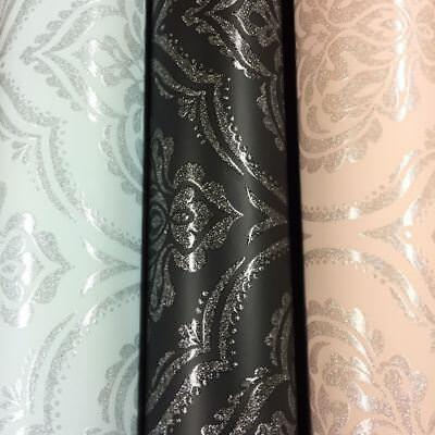 Damask Wallpaper Glitz Glitter Textured Sparkle Black Pink Teal Fine Décor