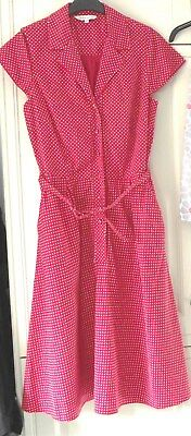 Laura Ashley - Beautiful Vintage - Red Polka Dot Tea Dress - Size 14 - NEW