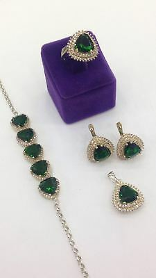Exalted ! 925 Sterling Silver Jewelry Emerald Ladies  Full Sets
