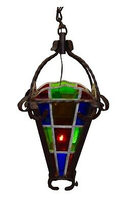 French Antique Belle Epoque Wrought Iron Chandelier Lantern with Stained Glass