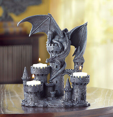 DRAGONS: Dragon on Castle Tower Tealight Candle Holder NEW
