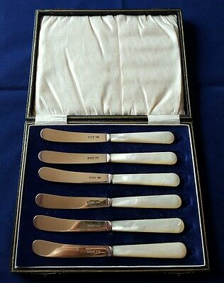 Antique 6 Hallmarked Silver Mother of Pearl Knives Charles William Fletcher 1924