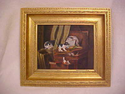 Kitten Cat Oil Painting in Gold Gilded Frame, Artist Unk, Older Painting