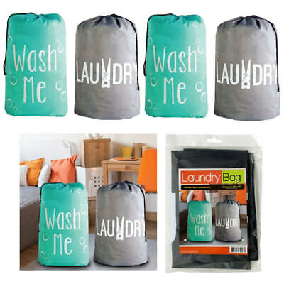 "4 Pc Nylon Laundry Bags Heavy Duty Jumbo Size Wash Clothes College Gym 22""x36"""