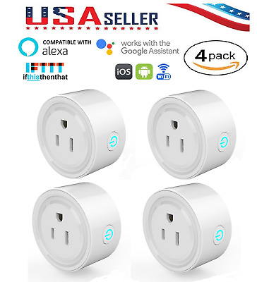 Smart WiFi Plug Outlet Switch App Remote for Alexa, Google Home & IFTTT,  4-Pack
