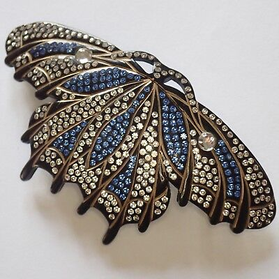 Big Vintage French Art Deco Carved Acrylic Rhinestone Butterfly Hair Barrette