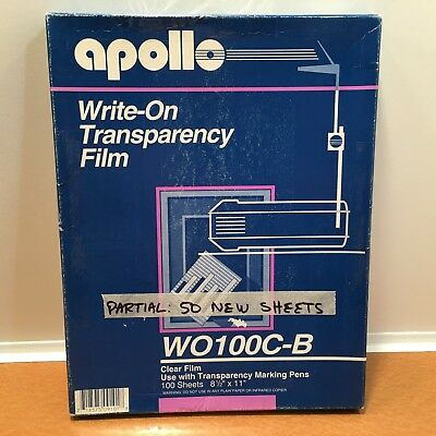 "Apollo Write-On Transparency Film 8.5 x 11"" Clear 50 Sheets:  WO100C-B, (READ)"
