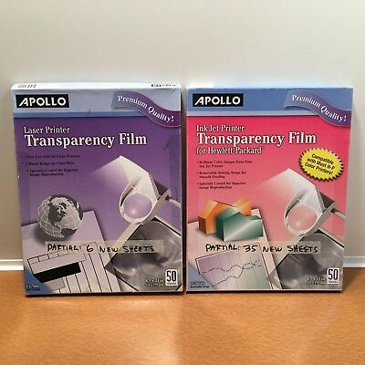Mixed Lot of APOLLO Transparency Film, Ink Jet & Laser: 35 CG7031S + 6 CG7060