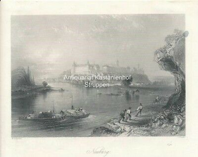 Neuburg. (with the old Ducal Palace.) - Original-Stahlstich W. H. Bartlett./C. C