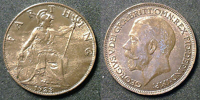 1923 Copper Farthing Great Britain UK Coin UNC