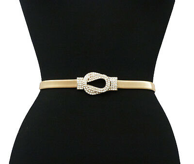 Women's Rhinestone Filled Buckle Stretch Metal Fashion Chain Belt