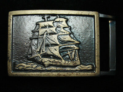 RA07132 *NOS* VINTAGE 1970s *SAILING SHIP* COMMEMORATIVE ART SOLID BRASS BUCKLE