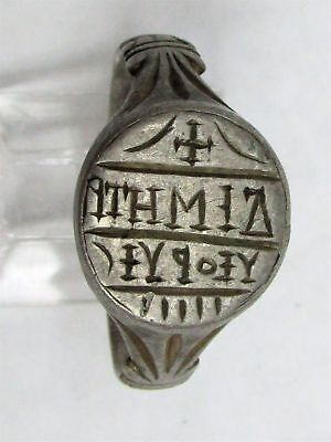 ca. 3rd -5th CENTURY AD SILVER BYZANTINE DIMETRIUS SIGNET SEAL RING SIZE 8