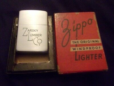 "Vintage Zippo Lighter 1948 3-Barrel Hinge  ""zarsky Lumber Co. Near Mint W/box"